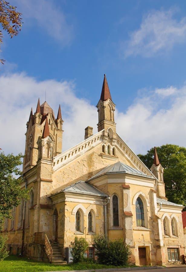 被放弃的路德教会在哥罗德诺,白俄罗斯 免版税库存图片