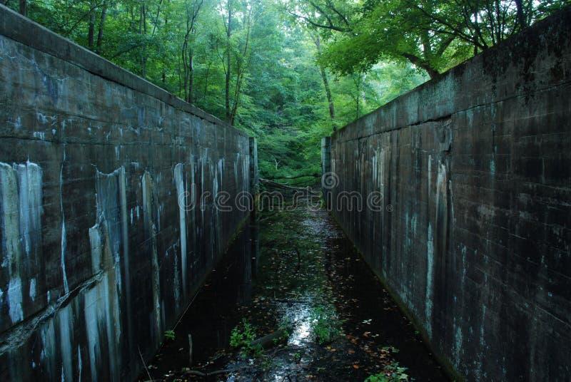 被放弃的运河锁定 免版税库存图片
