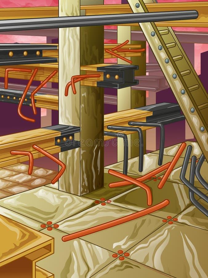 被放弃的钢铁生产厂 向量例证