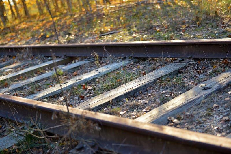 被放弃的铁路轨道 免版税库存图片