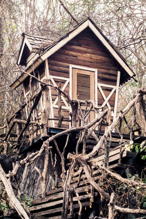 被放弃的鬼屋在不可思议的森林万圣节背景中 图库摄影