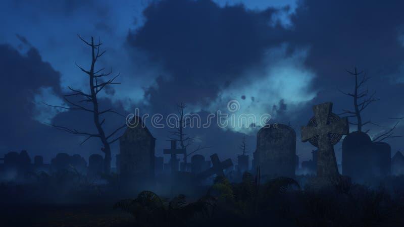 被放弃的鬼的公墓在有薄雾的晚上 皇族释放例证