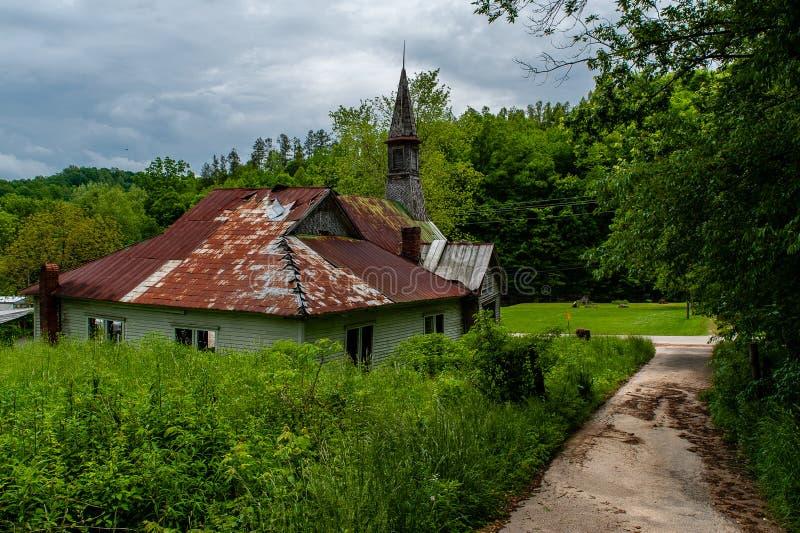被放弃的Cannel市联合教会-阿巴拉契亚山脉-肯塔基 免版税库存图片