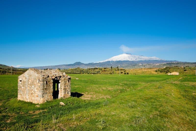 被放弃的etna域温室火山 免版税库存图片