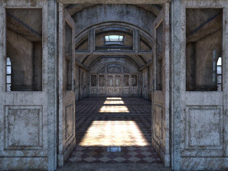 被放弃的plcaes走廊3D CG翻译  库存例证
