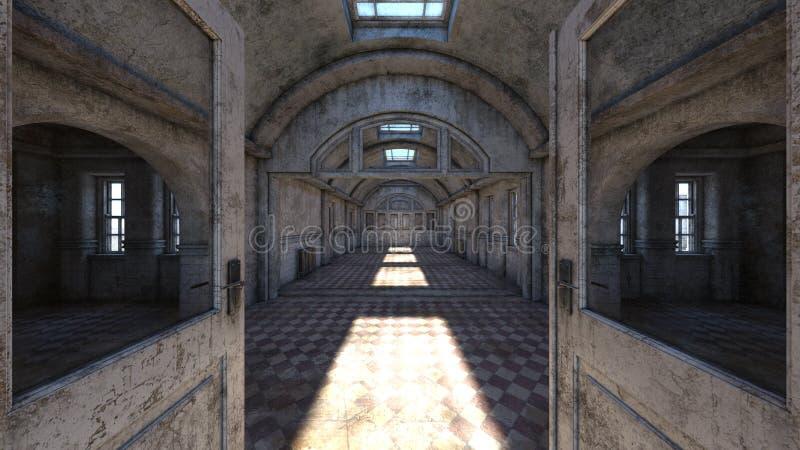 被放弃的plcaes走廊3D CG翻译  向量例证