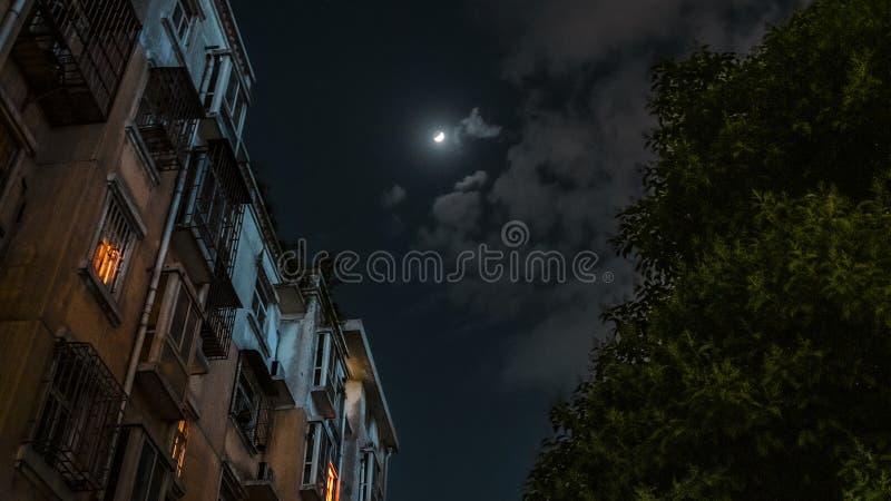 被月光照亮夜 梦想的场面 免版税库存照片