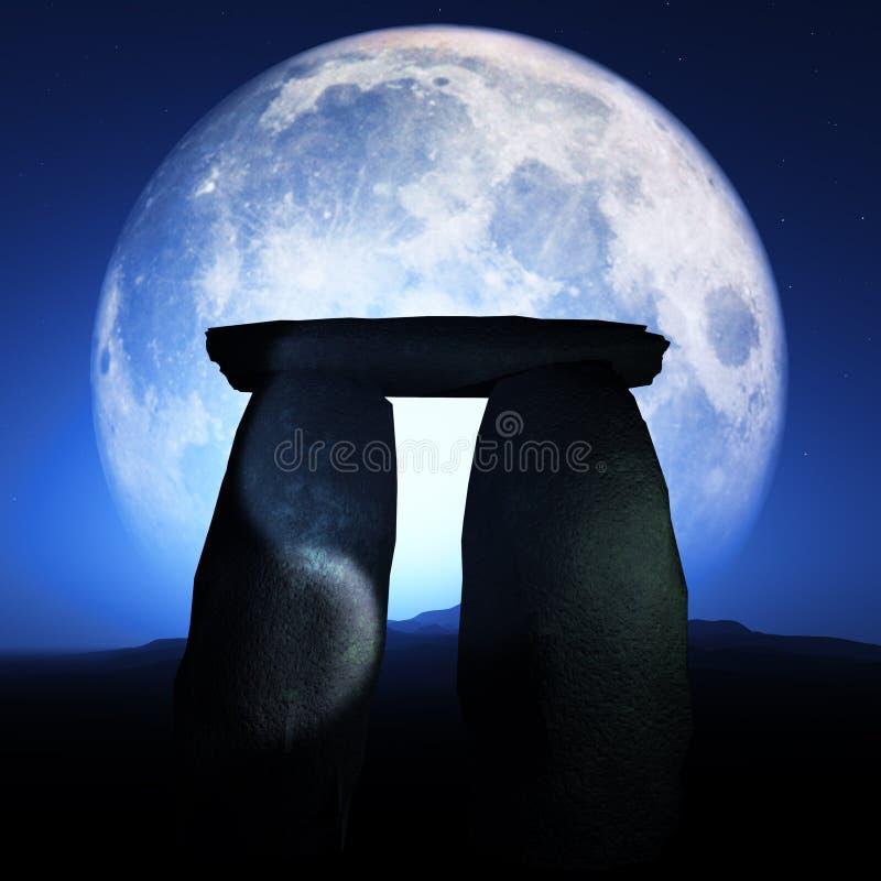 被月光照亮巨石的纪念碑 向量例证