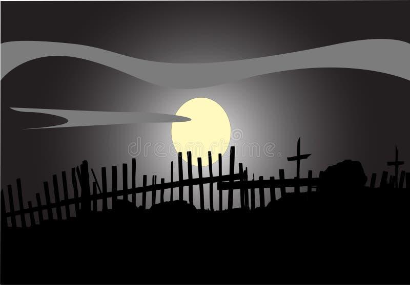 被月光照亮晚上 库存例证