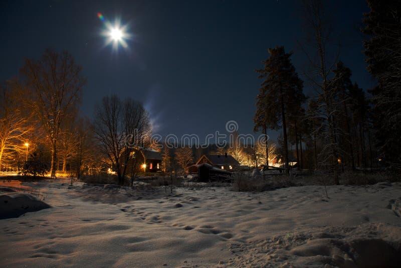 被月光照亮的庭院 免版税图库摄影