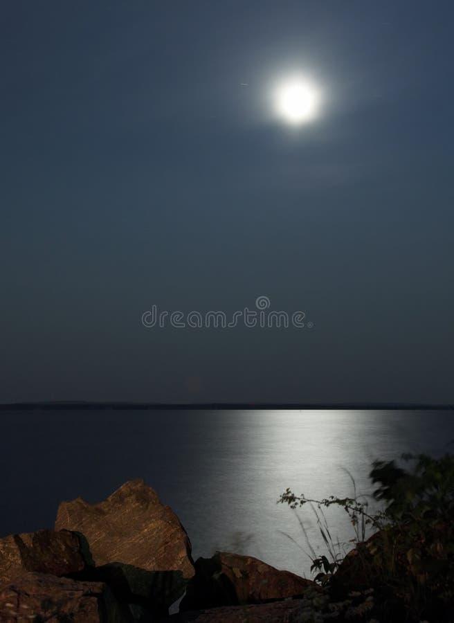 被月光照亮的湖 免版税库存图片