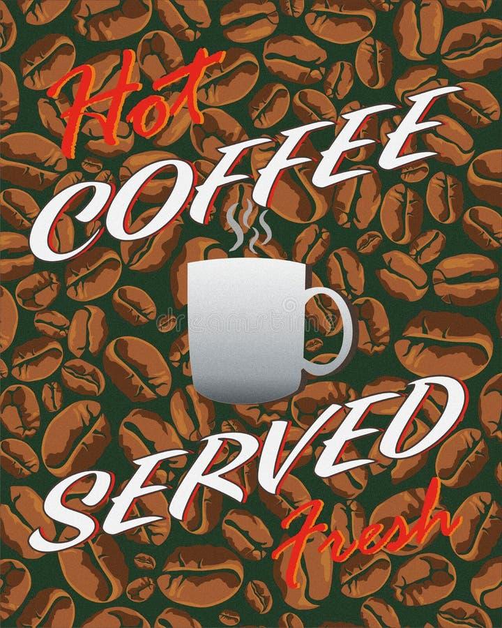 被服务的热的咖啡新鲜 库存例证