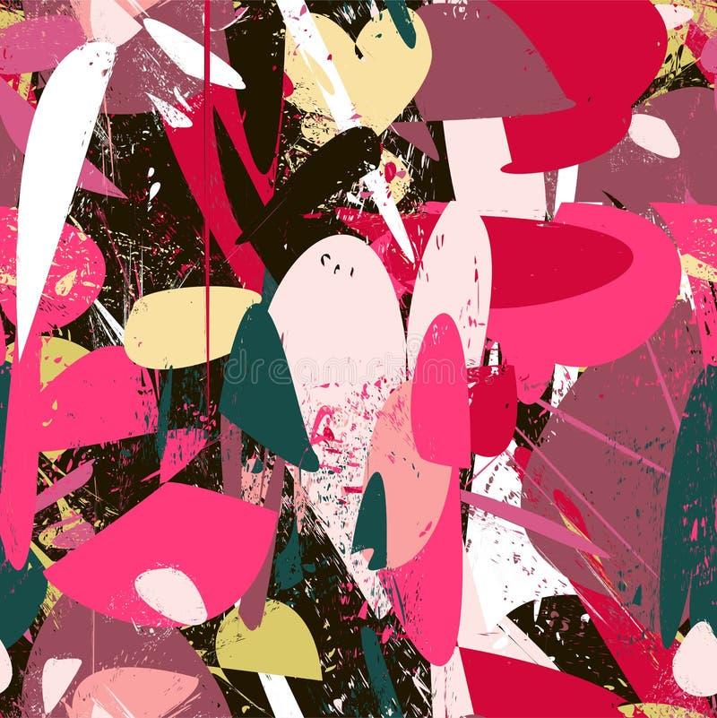 被构造的条纹,冲程,飞溅和在绯红色颜色范围的斑点 向量例证