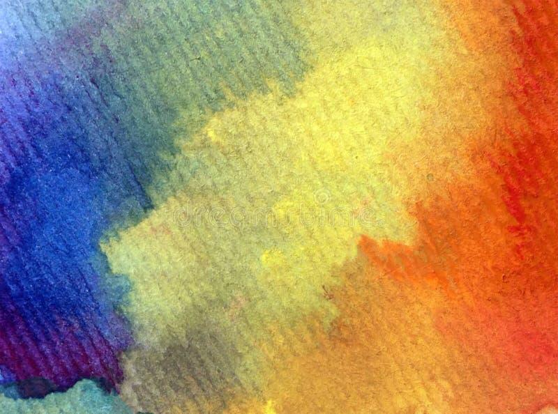 被构造的水彩艺术背景摘要天空彩虹愉快的五颜六色的蓝色靛蓝紫罗兰 免版税库存图片
