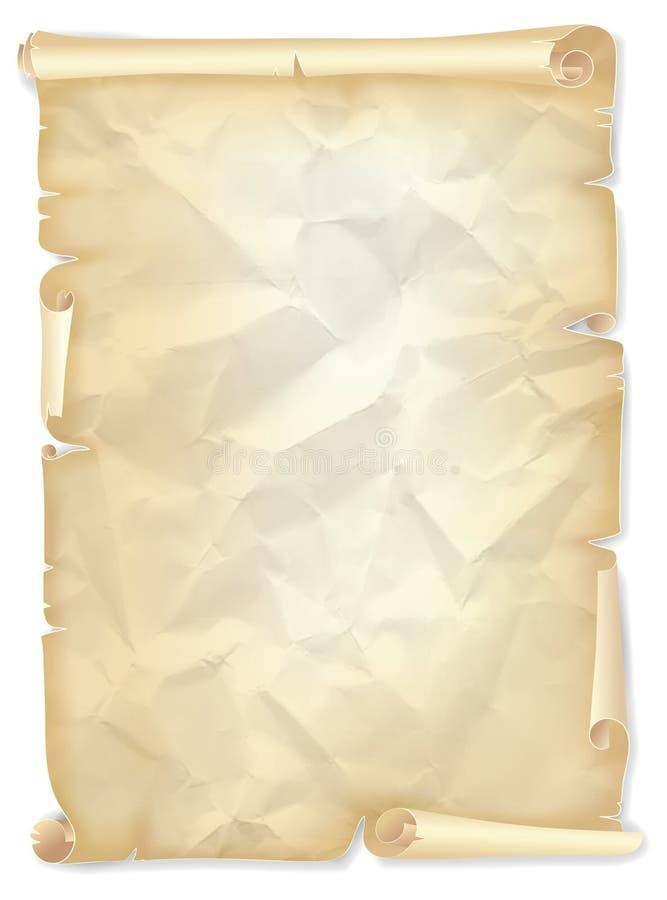 被染黄的纸、明信片或者文凭模板老被弄皱的纸卷  库存例证