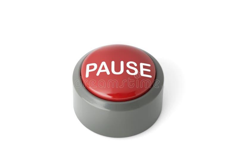 被标记`在白色背景的停留`的红色圆按钮 免版税库存照片