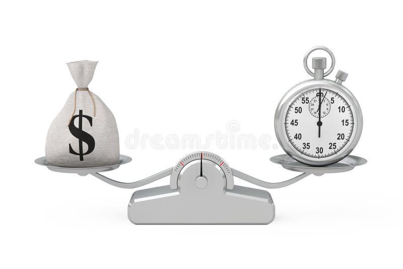 被栓的土气帆布亚麻制金钱大袋或金钱袋子和美元的符号 向量例证