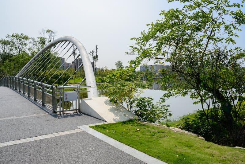 被栓的桥梁的扶垛在水的在晴朗的夏天morni城市 库存图片