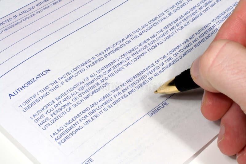 被核准的签名 免版税库存图片