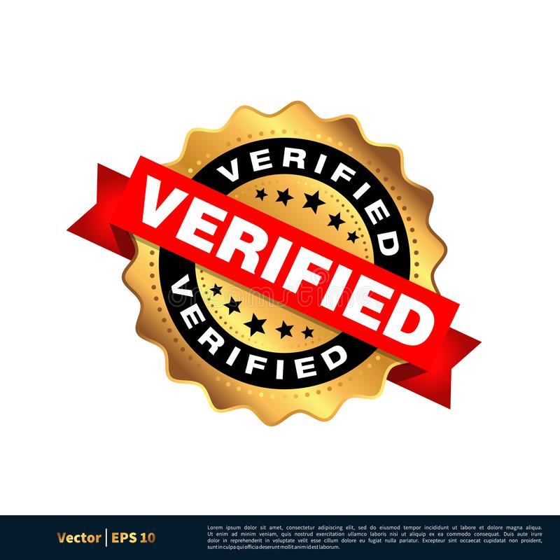 被核实的金封印邮票传染媒介模板例证设计 o 向量例证
