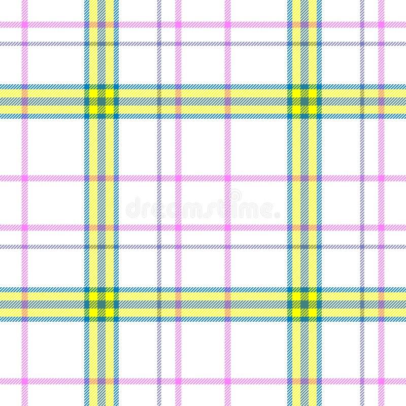 被检查的格子花刻痕苏格兰男用短裙织品无缝的样式纹理背景-白色,黄色,蓝色,桃红色和紫色颜色 皇族释放例证