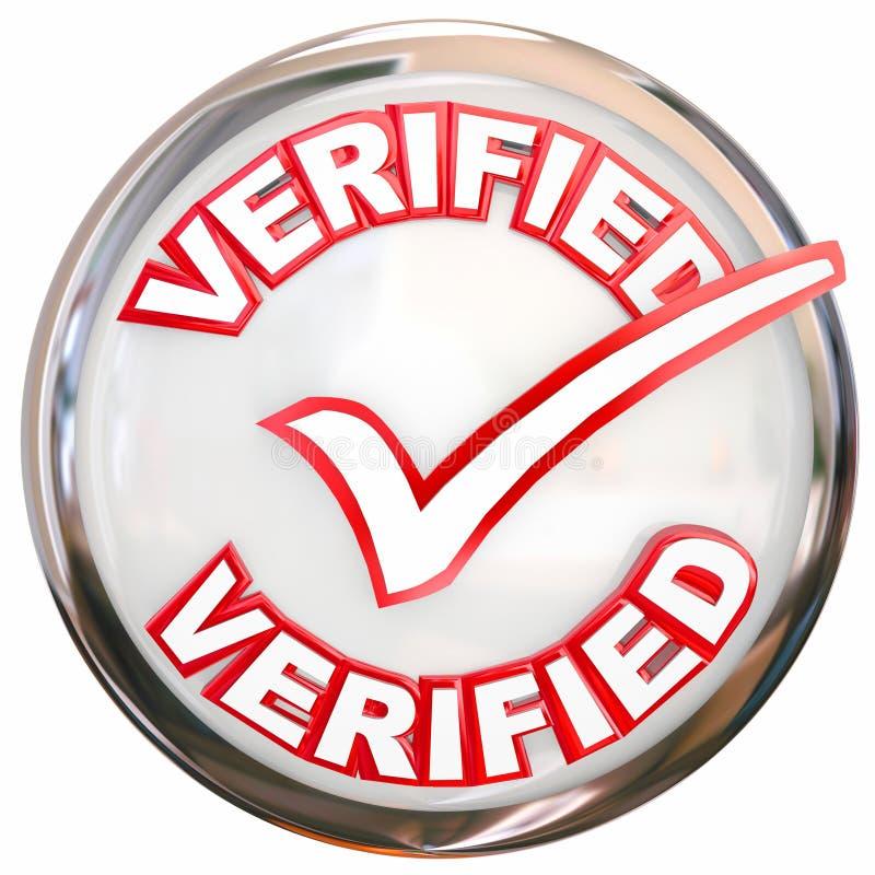 被检查被证明的被核实的邮票按钮校验标志 向量例证