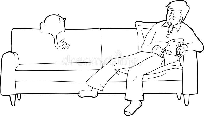 被概述的人睡着与猫 向量例证
