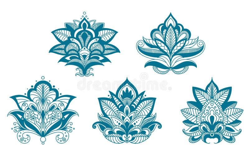 被概述的佩兹利鞋带蓝色花 库存例证
