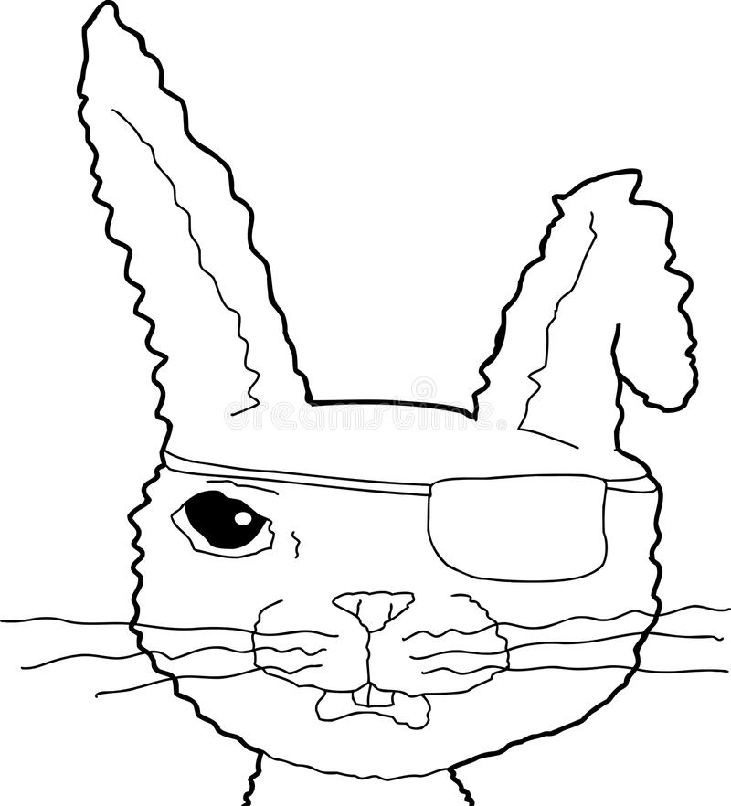 被概述的动画片海盗兔宝宝 向量例证