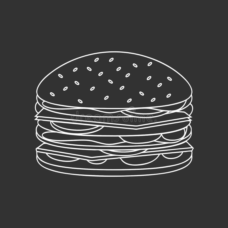 被概述的快餐汉堡例证 皇族释放例证