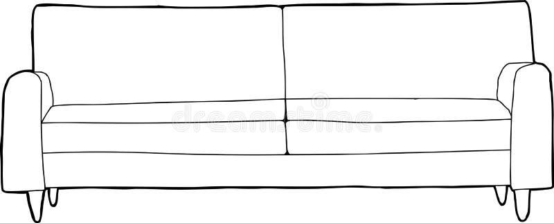 被概述的沙发动画片 向量例证