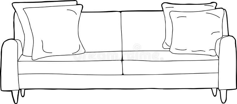 被概述的沙发动画片 皇族释放例证