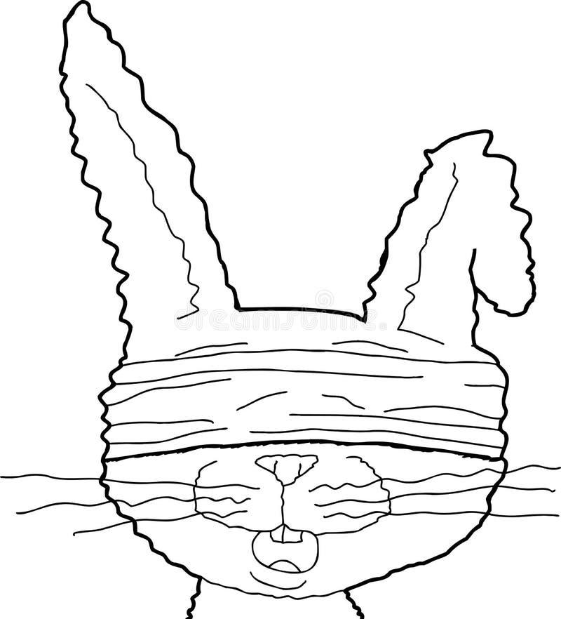 被概述的蒙住眼睛的兔子 向量例证