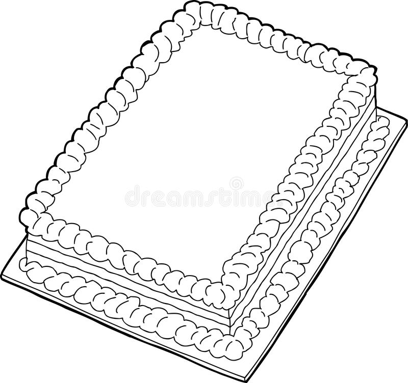 被概述的蛋糕 库存例证