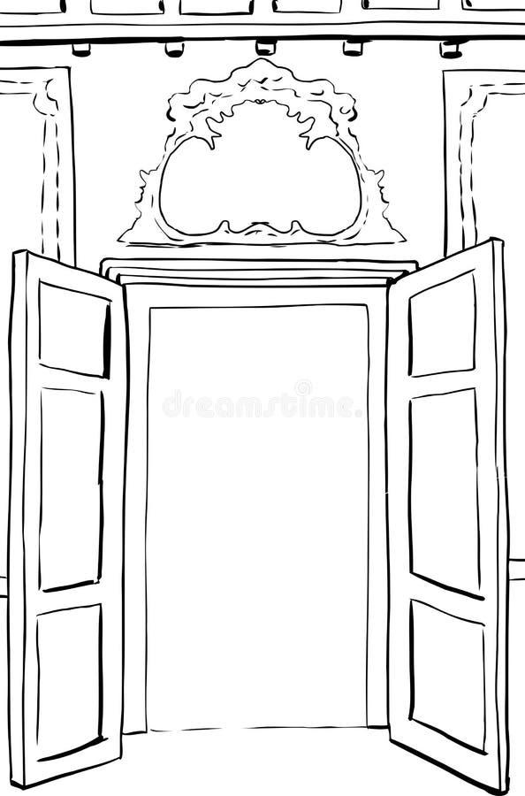 被概述的洛可可式的门例证 皇族释放例证