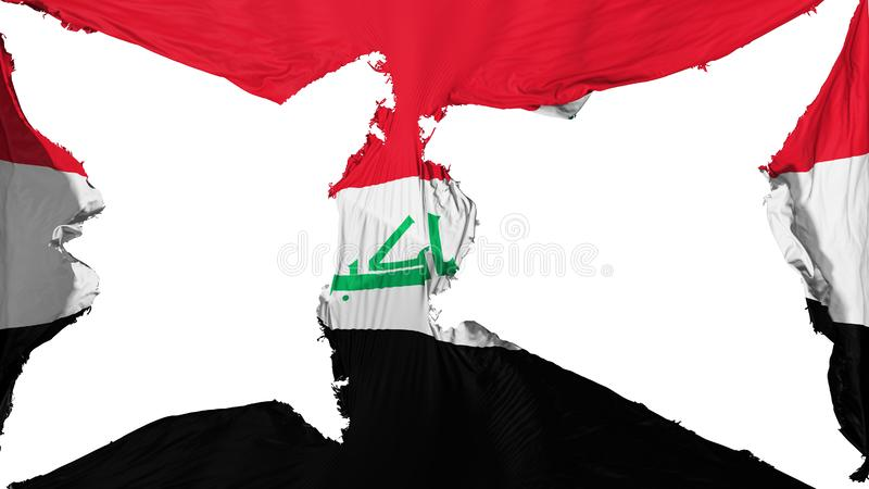 被毁坏的伊拉克旗子 库存图片