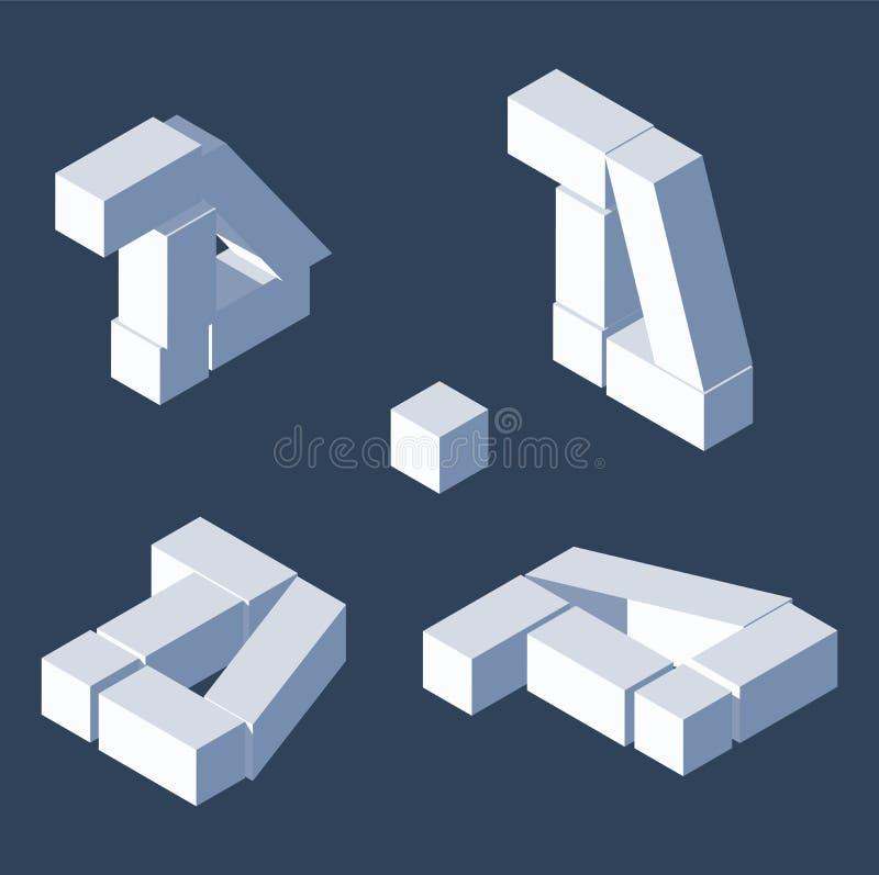 被毁坏的印刷体字母d在各种各样节略 等轴测图,有益于写和在上写字 立方体3d砖 库存例证