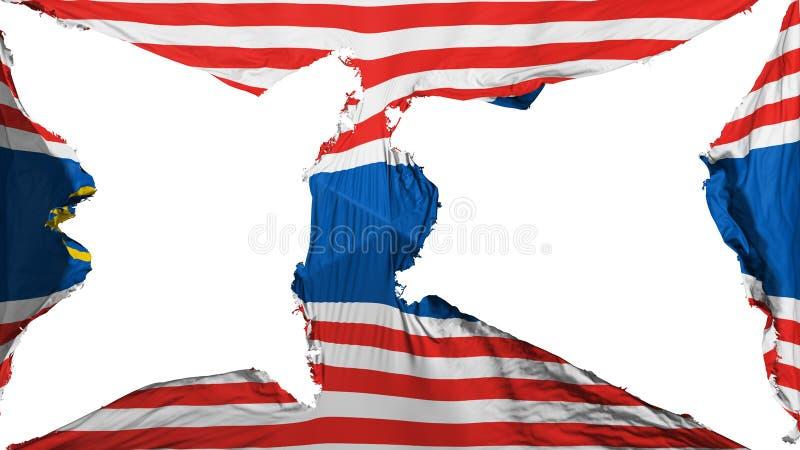 被毁坏的吉隆坡旗子 免版税库存图片