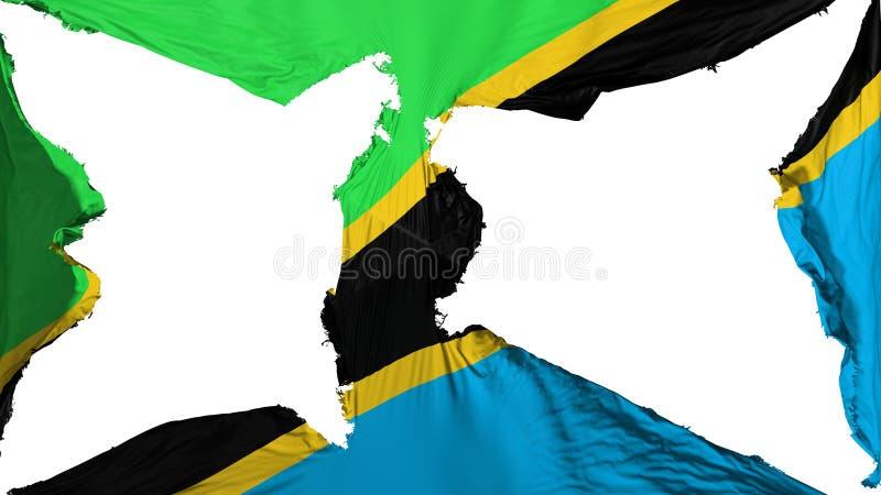 被毁坏的坦桑尼亚旗子 向量例证