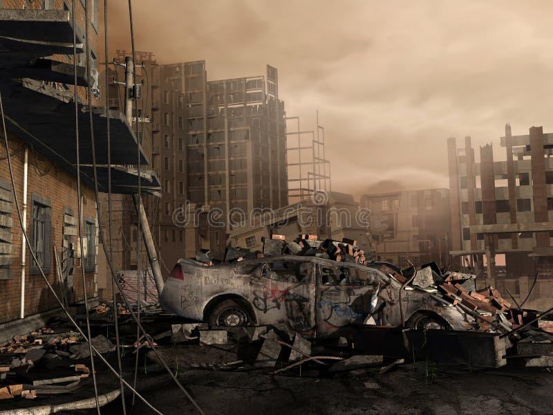 被毁坏的城市 皇族释放例证