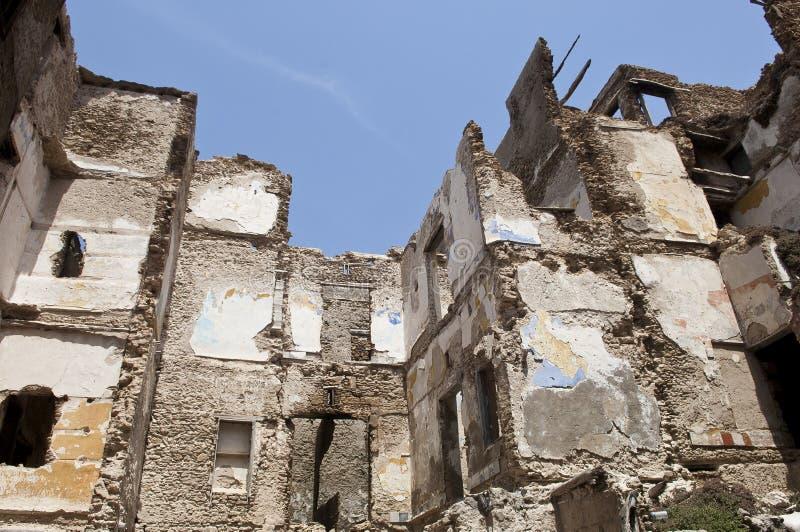 被毁坏的大厦 库存图片