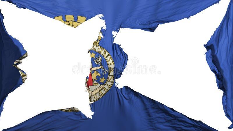 被毁坏的奥斯陆市旗子 向量例证