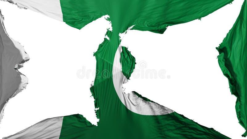 被毁坏的巴基斯坦旗子 向量例证