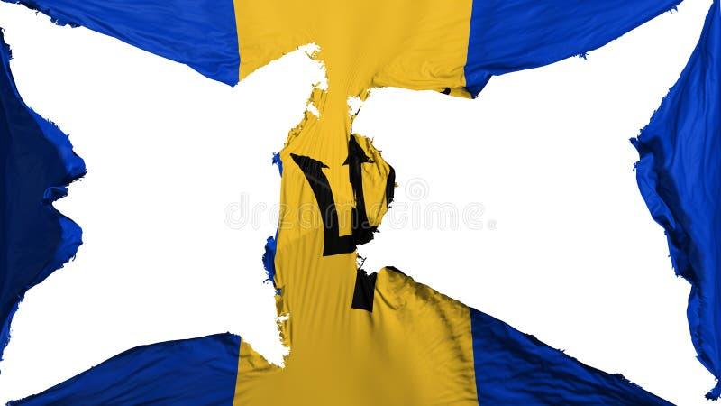 被毁坏的巴巴多斯旗子 库存例证