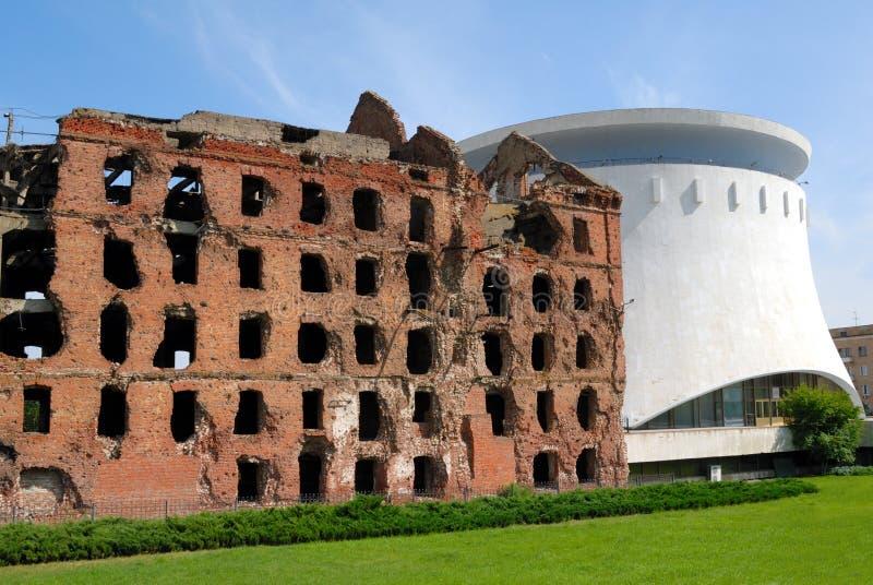 被毁坏的战斗磨房博物馆全景stalingrad伏尔加格勒 库存图片
