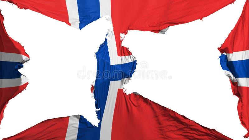 被毁坏的挪威旗子 库存例证