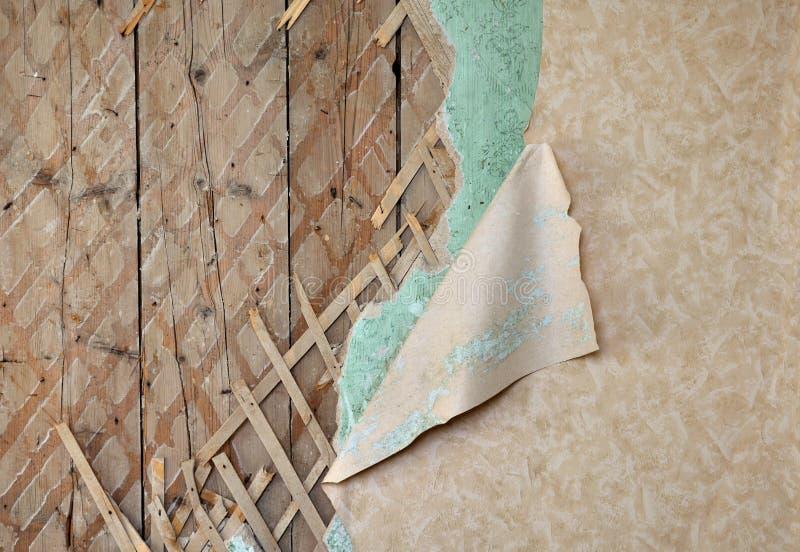 被毁坏的接合的老墙壁墙纸 免版税库存图片
