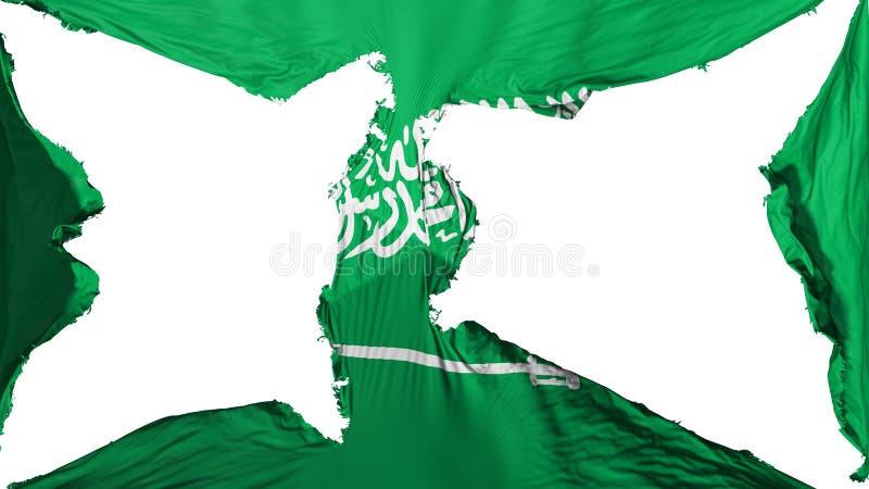 被毁坏的沙特阿拉伯旗子 免版税库存照片