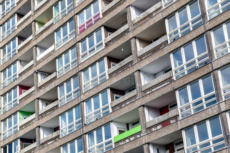 被毁坏的理事会公寓住房块, Balfron塔 库存图片