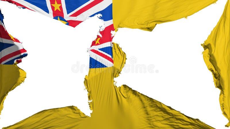 被毁坏的纽埃市旗子 库存例证